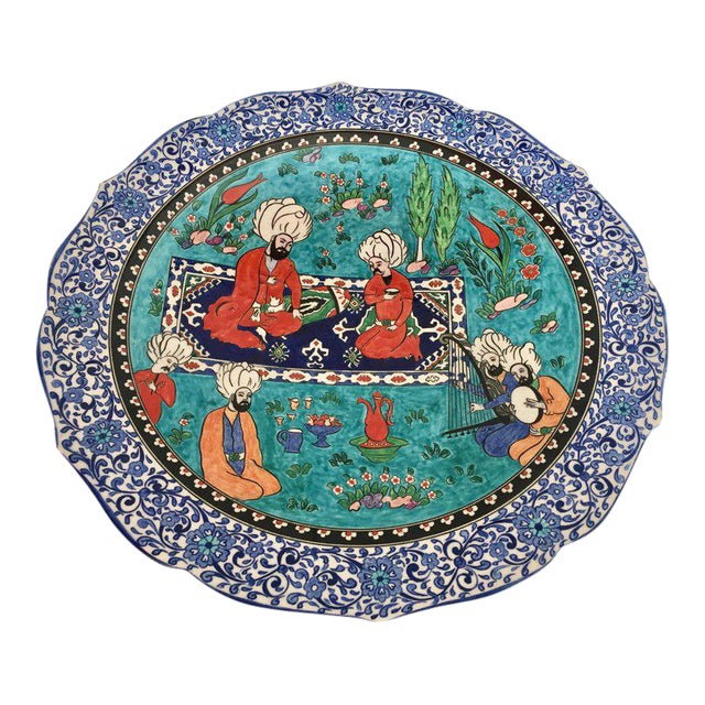 Large Turkish Ottoman Scene Polychrome Hand Painted Ceramic Plate Kutahya For Sale