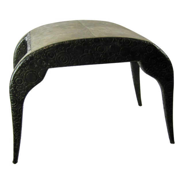 R & Y Agousti French Style Ebony & Shagreen Bench For Sale