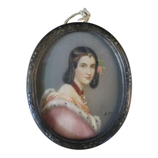 Antique Miniature Portrait of Young Woman in Ermine Trim Gown For Sale