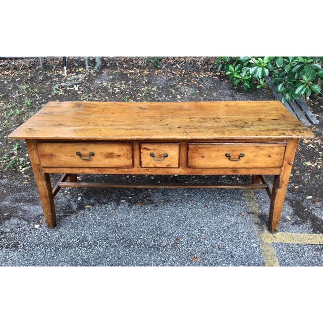 Vintage French Farmhouse Table With Three Drawers For Sale - Image 10 of 10