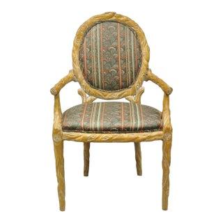 Vintage Branch Form Carved Wood Upholstered Back Chair For Sale