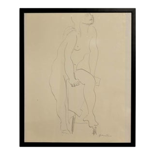 1960s Gertrude Barnstone Abstract Pencil Contour Line Drawing of Female Nude With Raised Leg, Framed For Sale