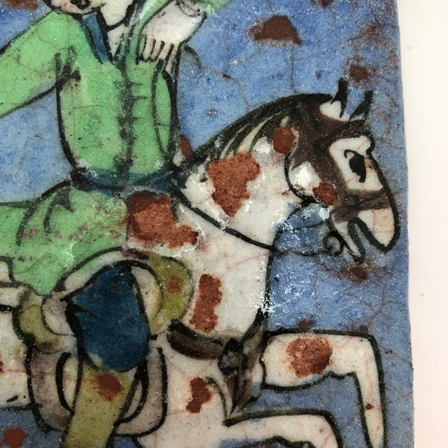 19th Century Antique Persian Qajar Hunter on Horse Ceramic Tile For Sale - Image 4 of 12