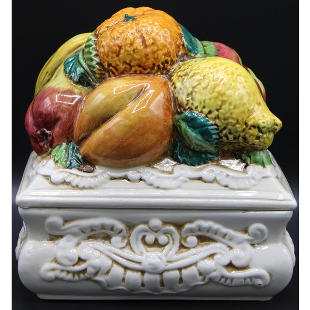 Italian Ceramic Fruit Lidded Box For Sale - Image 10 of 11