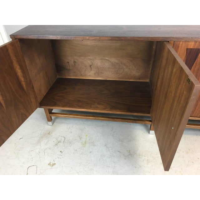 Mid-Century Walnut With Rosewood Inlay Credenza - Image 7 of 8