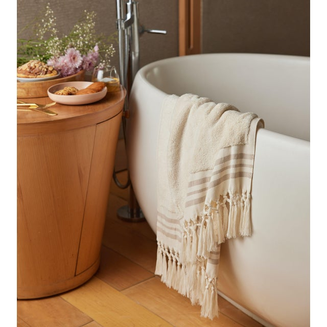 Plush & Bare Handmade Organic Cotton Bath Towel in Ecru with Stripes For Sale - Image 6 of 7
