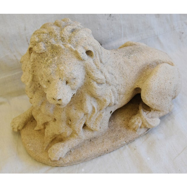 Antique French Sandstone Lion Statue Figure For Sale - Image 4 of 13