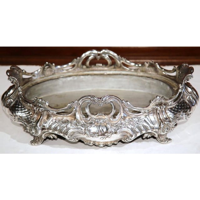 Mid 19th Century Large 19th Century French Louis XV Oval Silver Plated Jardinière With Zinc Liner For Sale - Image 5 of 9