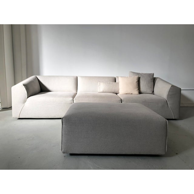 Modern Modular Sofa and Ottoman Light Grey and White Piping by Mdf Italia