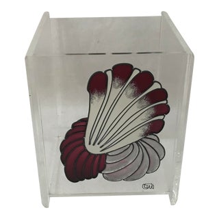 Vintage Acrylic Lucite Waste Basket Sea Shell Detail For Sale