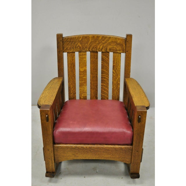 Antique Harden Mission Oak Arts & Crafts Rocking Chair Armchair in the Gustav Stickley Style. Item features solid wood...