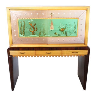 Italian Eglomise Dry Bar, C. 1930 For Sale
