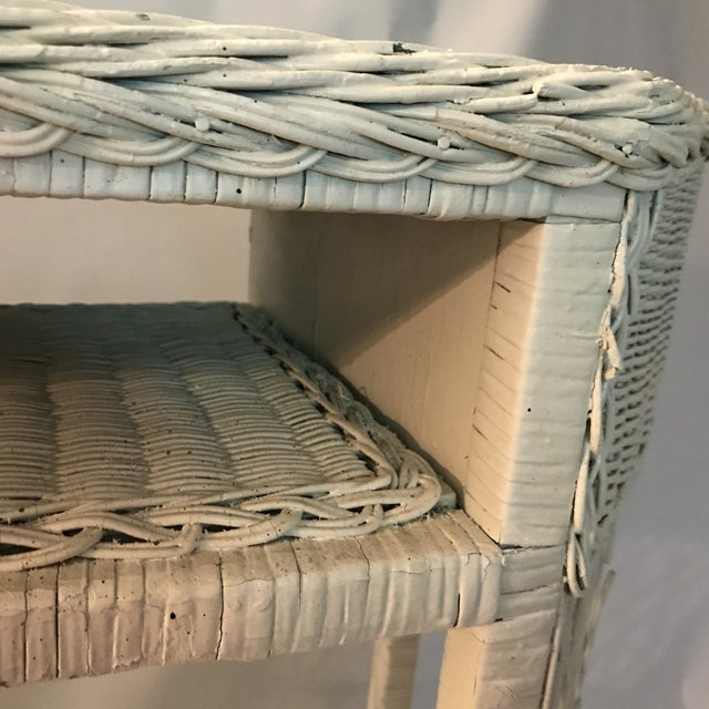 Mid 20th Century White Wicker Console or Dressing Table For Sale - Image 5 of 13