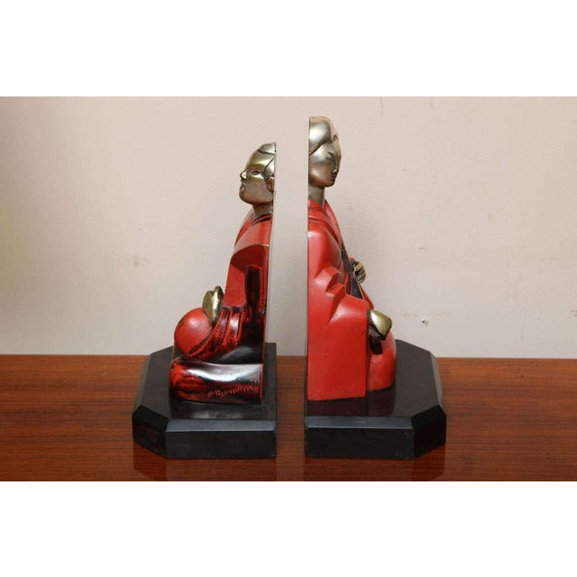 Art Deco Beautiful Pair of Art Deco Cubist Bookends by Bouret For Sale - Image 3 of 10