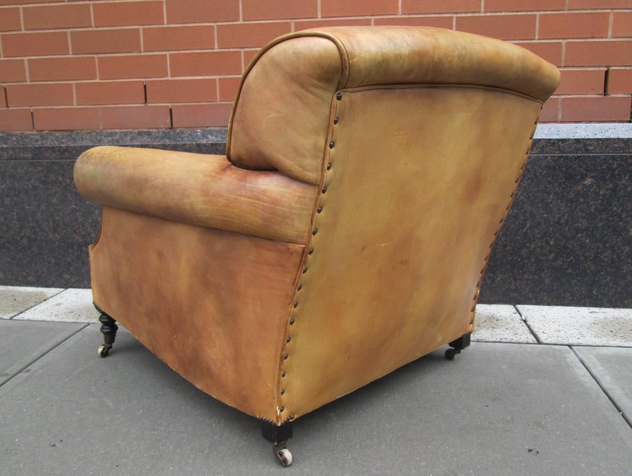 George Smith Leather Lounge Chair And Ottoman By George Smith For Sale    Image 4 Of