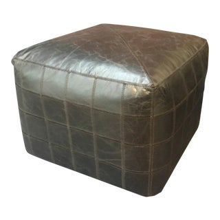 Contemporary Black Patchwork Square Ottoman For Sale
