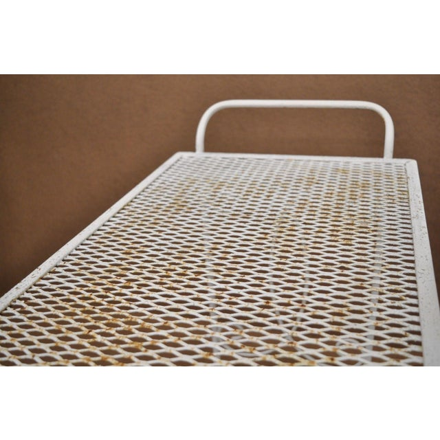 Vintage Wrought Iron Metal Mesh Patio Tea Cart For Sale - Image 11 of 12