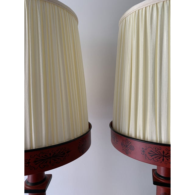 Metal Chinese Painted Red Metal Table Lamps - a Pair For Sale - Image 7 of 13