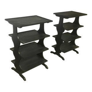 j.m. Frank Attributed Rare Pair of Black 4 Tier Side Tables For Sale