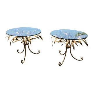 Italian Gilt Ficus Allee Leaves Glass End-Tables - a Pair For Sale