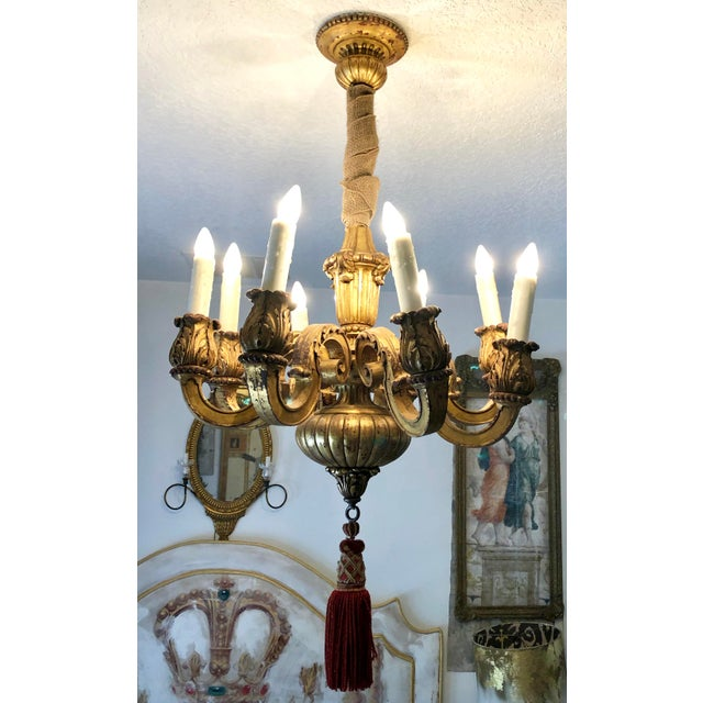 Mid 19th Century Italian Carved Gilt Wood Chandelier For Sale - Image 12 of 13
