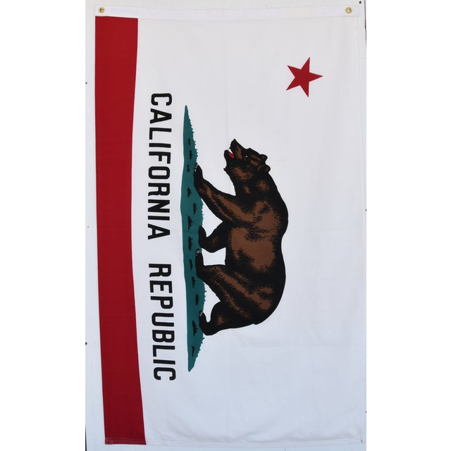 Vintage 100% cotton large California Republic state bear flag with brass grommets for displaying. No maker's mark. The...