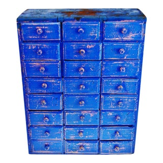 Antique Distressed Cobalt Blue 24 Drawer Cigar Box Apothecary Cabinet For Sale
