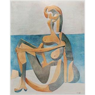 """1971 Picasso """"Femme Assise Au Bord De La Mer"""" Photogravure"""