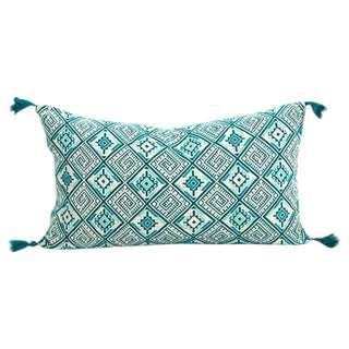 Turquoise Guatemalan Pillow For Sale
