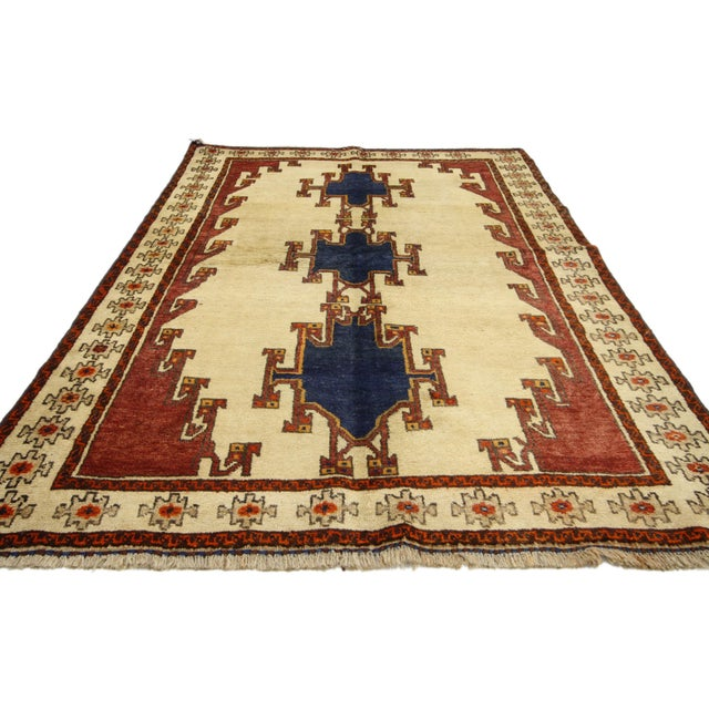 Vintage Shiraz Persian Rug with Modern Tribal Style For Sale - Image 4 of 6