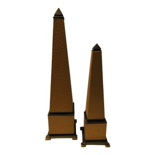1980s Faux Ostrich and Brass Obelisks - Set of 2 For Sale