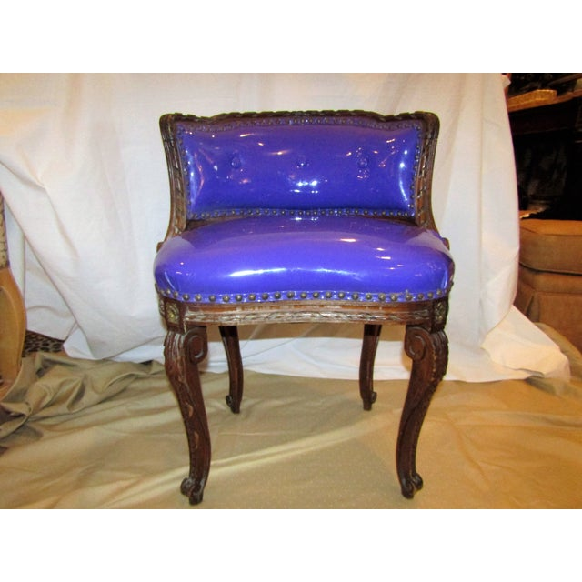 Purple Vinyl Upholstered Antique Vanity Chair - Image 2 of 5 - Purple Vinyl Upholstered Antique Vanity Chair Chairish