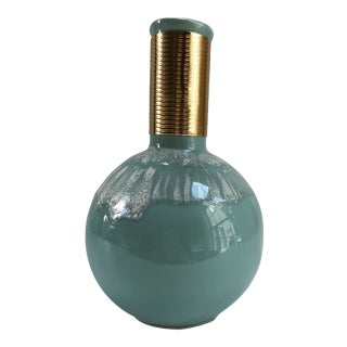 Vintage Hollywood Glam-Style Turquoise Vase For Sale