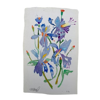 """""""Butterfly Lilies 1"""" Watercolor Painting For Sale"""