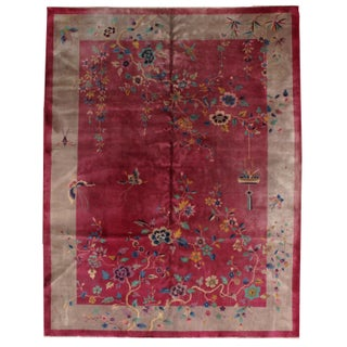 1920s Hand Made Antique Art Deco Chinese Rug - 8′10″ × 11′7″ For Sale