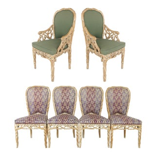 Transitional Faux Bois Blonde Carved & White-Washed Wood Dining Chairs - Set of 6 For Sale