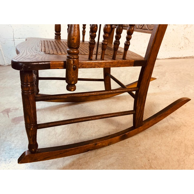 Quarter-Sawn Oak Hand Carved Rocking Chair For Sale - Image 12 of 13