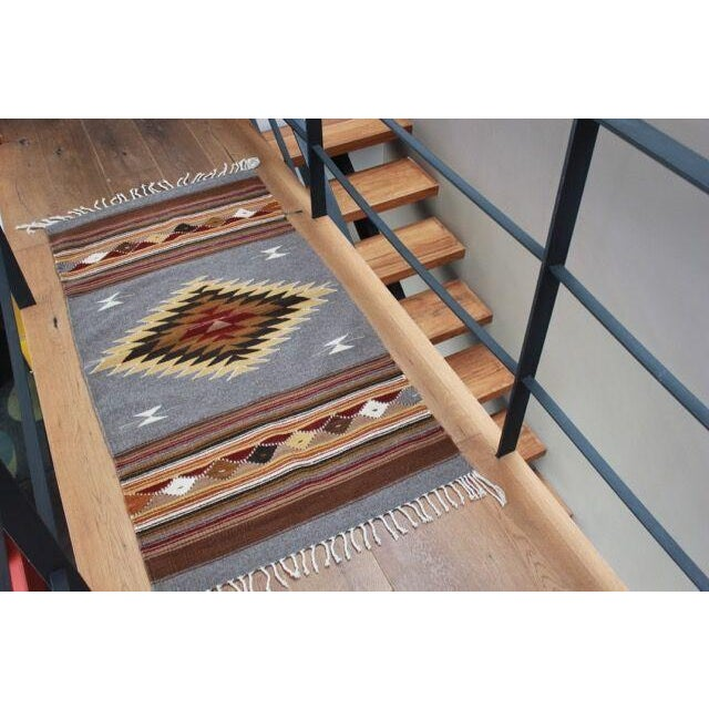 Mexican Pedal-Loom Gray Rug- 2′7″ × 4′10″ - Image 4 of 6