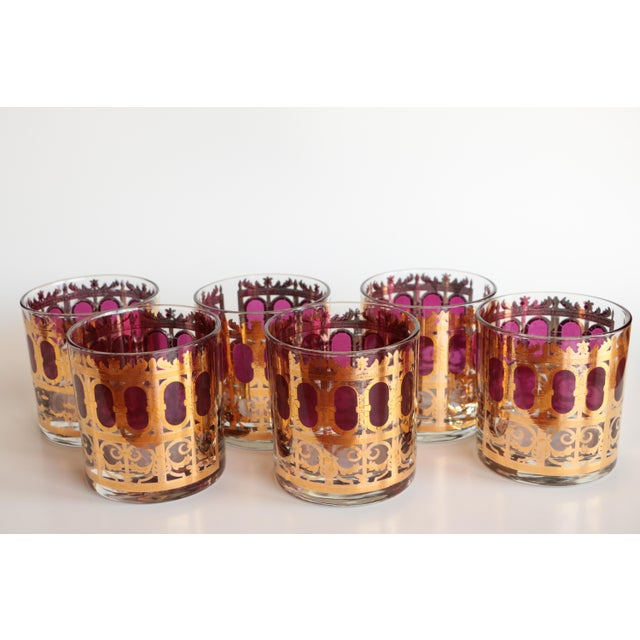 Culver Cranberry Scroll Highball and Lowball Glasses - Set of 12 - Image 4 of 9