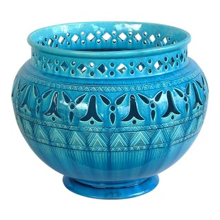 Large English Burmantofts Faience Teal-Glazed Pierce-Work Jardinière/Urn/Pot For Sale