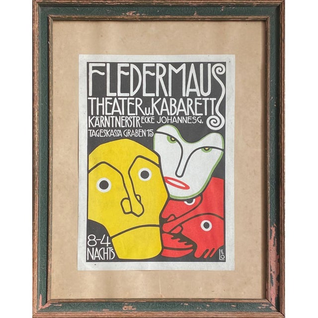 "Lithograph 1908 ""Berthold Loeffler Three Masks: Fledermaus Theater and Cabaret"" Original Lithograph, Framed For Sale - Image 7 of 7"