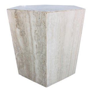 1970s Mid-Century Modern Hexagonal Italian Travertine Pedestal or Side Table For Sale