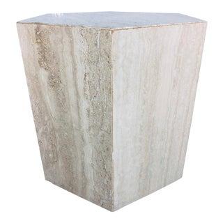 1970s Mid-Century Modern Hexagonal Italian Travertine Pedestal or Side Table For Sale
