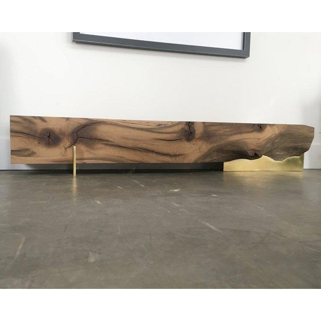 Brass Oz|shop Antique Oak Beam Bench With Brass Plate Feet For Sale - Image 7 of 7