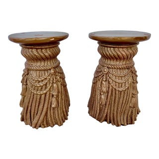 Vintage Hollywood Regency Style Plaster Side Tables - a Pair For Sale