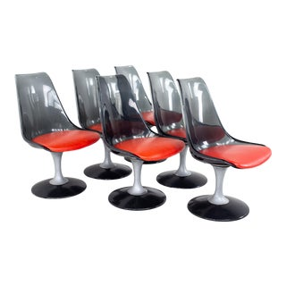 Chrome Craft Mid Century Smoked Lucite Dining Chairs - Set of 6 For Sale