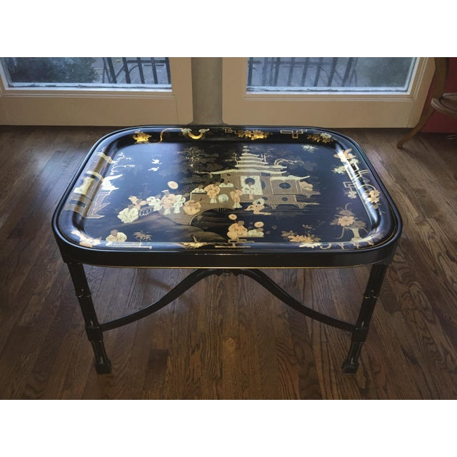 Large Gold Coffee Table Tray: Fine Tole Tray Coffee Table In Black/ Gold, Alfred Gignery