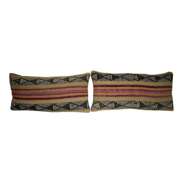 Pair Anatolian Wool Cushion Cover From Anatolian, Ethnic Turkish Decor, Lumbar Kilim Pillow Cover 12'' X 24'' (30 X 60 Cm) For Sale