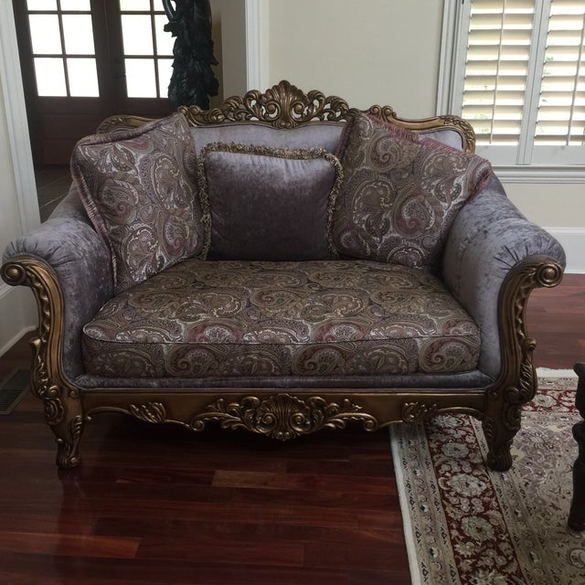 Purple & Paisley Loveseat With Pillows For Sale In Atlanta - Image 6 of 8