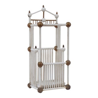 White Painted Stick & Ball Umbrella Stand For Sale